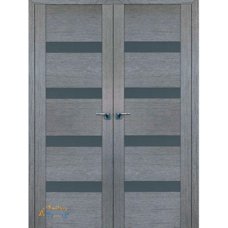 Двустворчатая дверь 2.81XN грувд, стекло графит