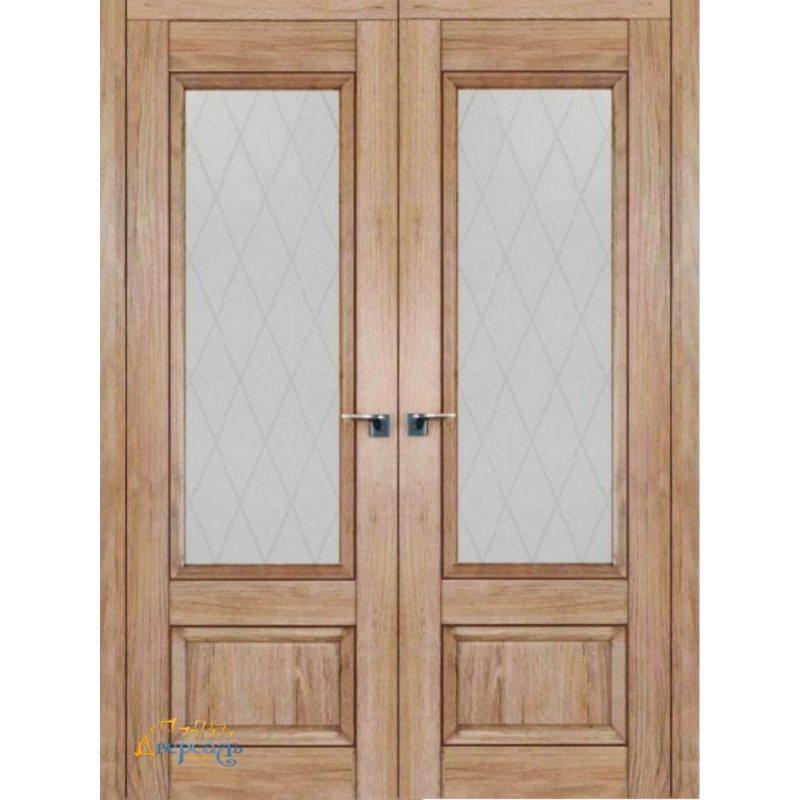 Двустворчатая дверь 2.90XN солинас светлый, стекло крупный ромб