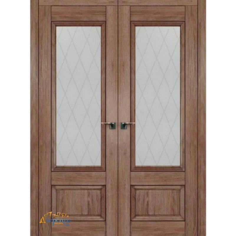 Двустворчатая дверь 2.90XN солинас темный, стекло крупный ромб
