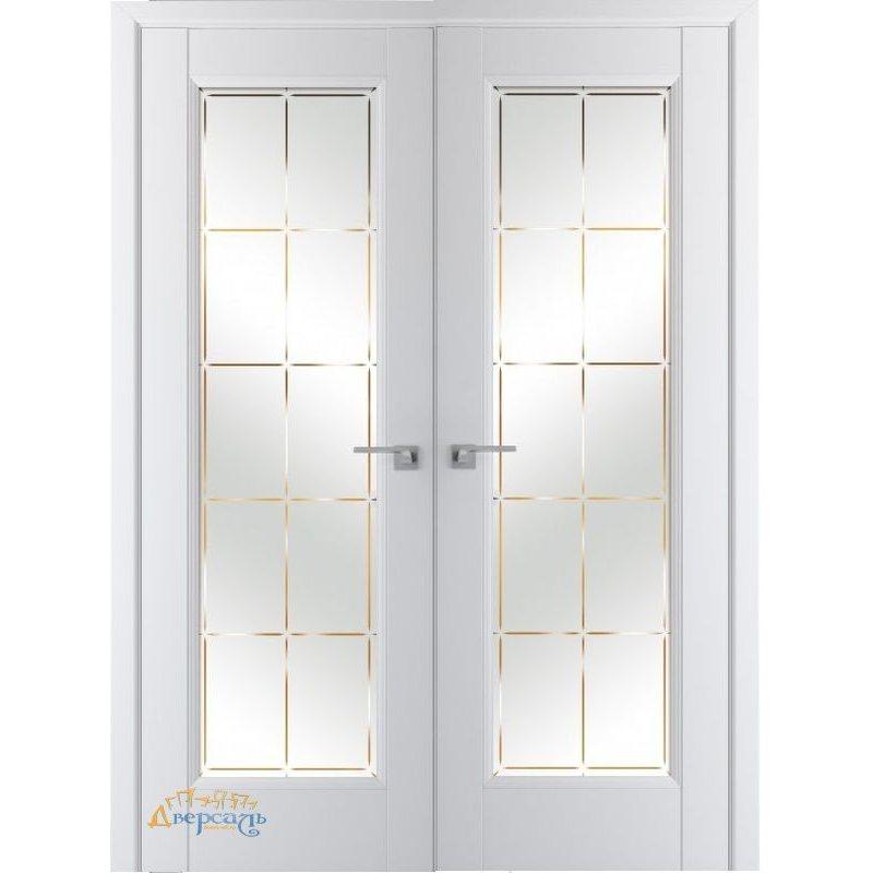 Двустворчатая дверь 92U аляска, стекло гравировка 10