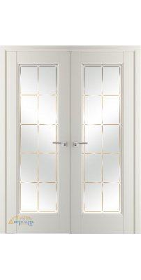 Двустворчатая дверь 92U магнолия сатинат, стекло гравировка 10