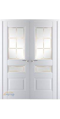 Двустворчатая дверь 94U аляска, стекло гравировка 1