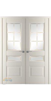 Двустворчатая дверь 94U магнолия сатинат, стекло гравировка 1