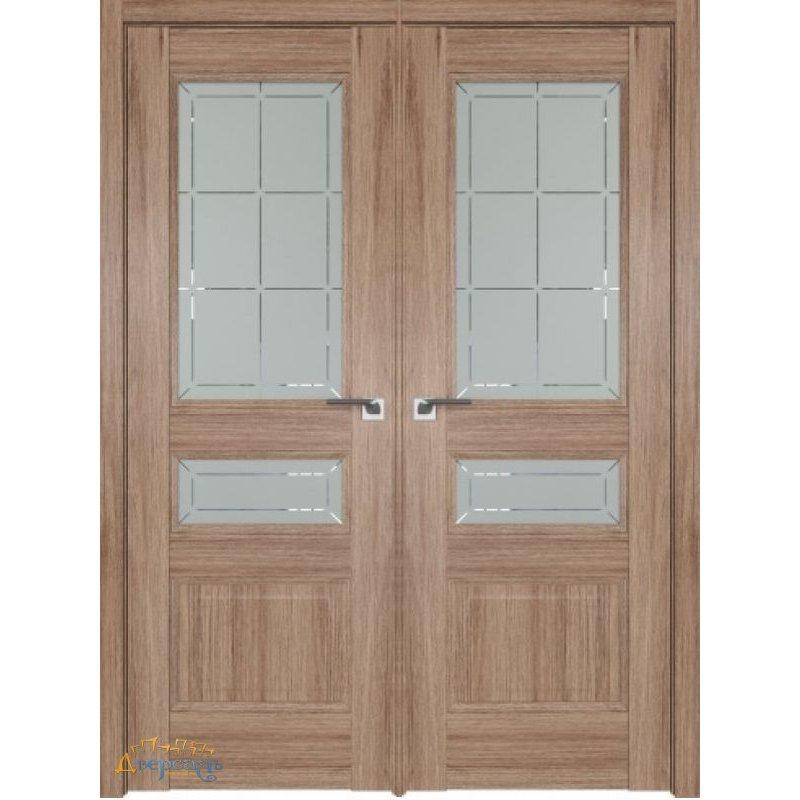 Двустворчатая дверь 94XN солинас светлый, стекло гравировка 1
