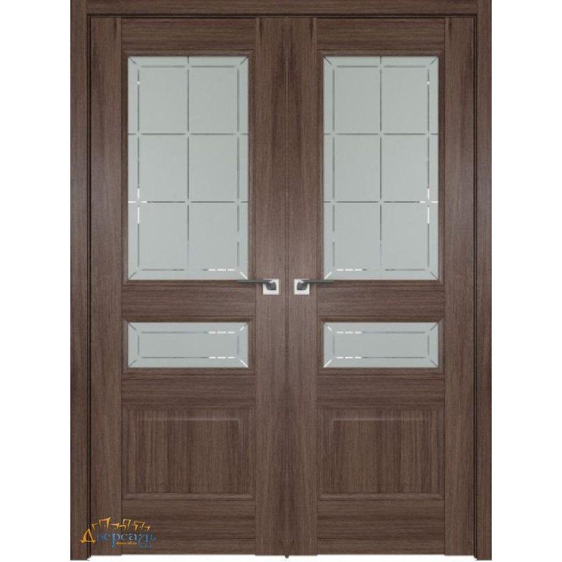 Двустворчатая дверь 94XN солинас темный, стекло гравировка 1