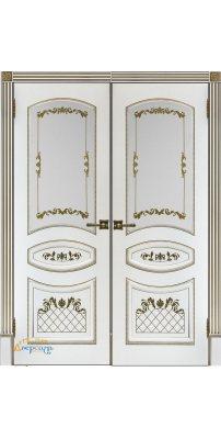 Двустворчатая дверь Алина-2 белая с золотой патиной ПО