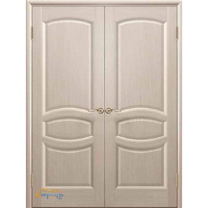 Двустворчатая дверь АНАСТАСИЯ беленый дуб ПГ