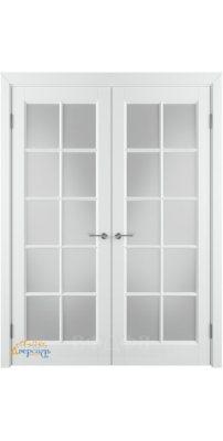 Двустворчатая дверь ГЛАНТА белая эмаль ПO