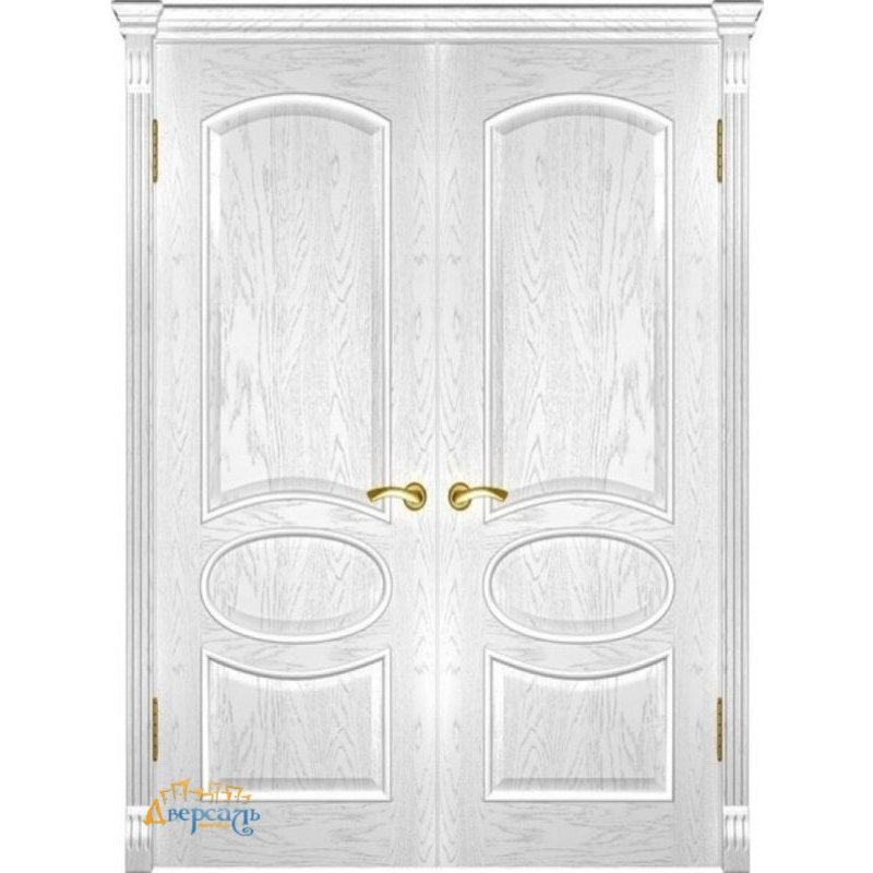 Двустворчатая дверь ГРАЦИЯ дуб белая эмаль ПГ