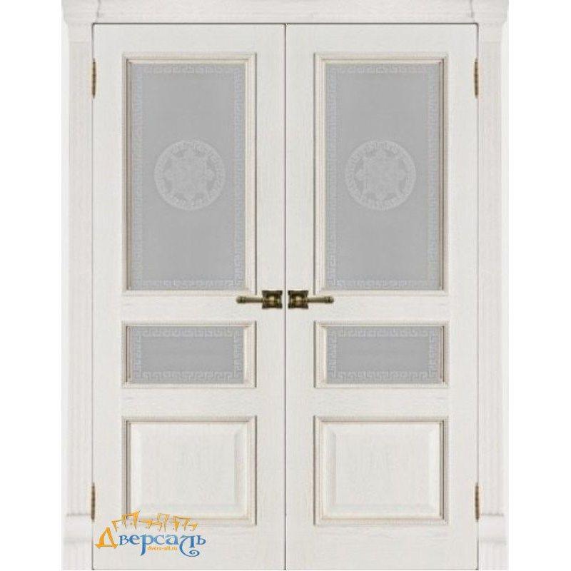 Двустворчатая дверь ГРАНД-2 patina bianko ПО Версаче