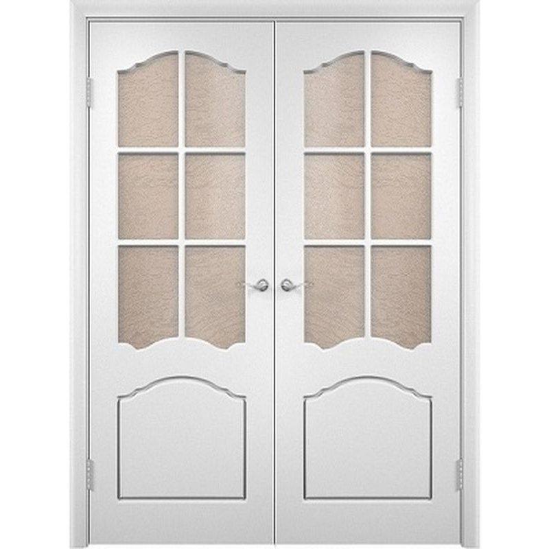 Двустворчатая дверь ЛИДИЯ белая ПО
