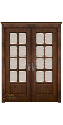 Двустворчатая дверь ЛОНДОН 2 античный орех, стекло матовое с фацетом
