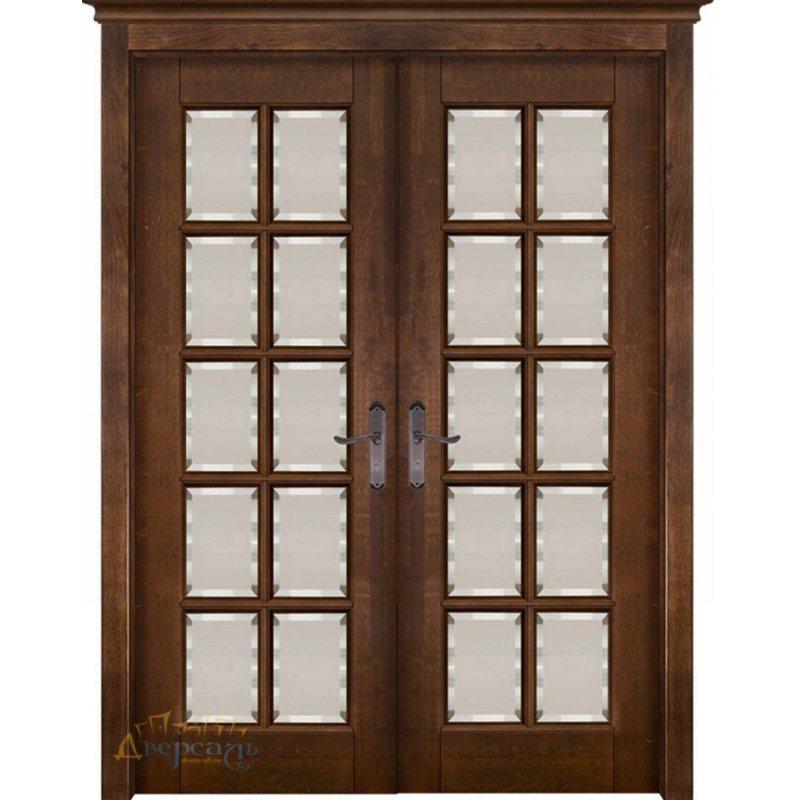 Двустворчатая дверь ЛОНДОН 4 античный орех, стекло матовое с фацетом