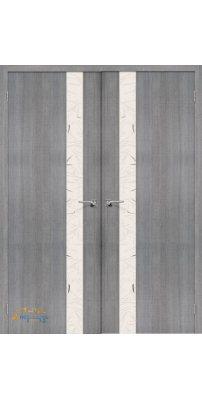 Двустворчатая дверь ПОРТА-51 grey crosscut SA