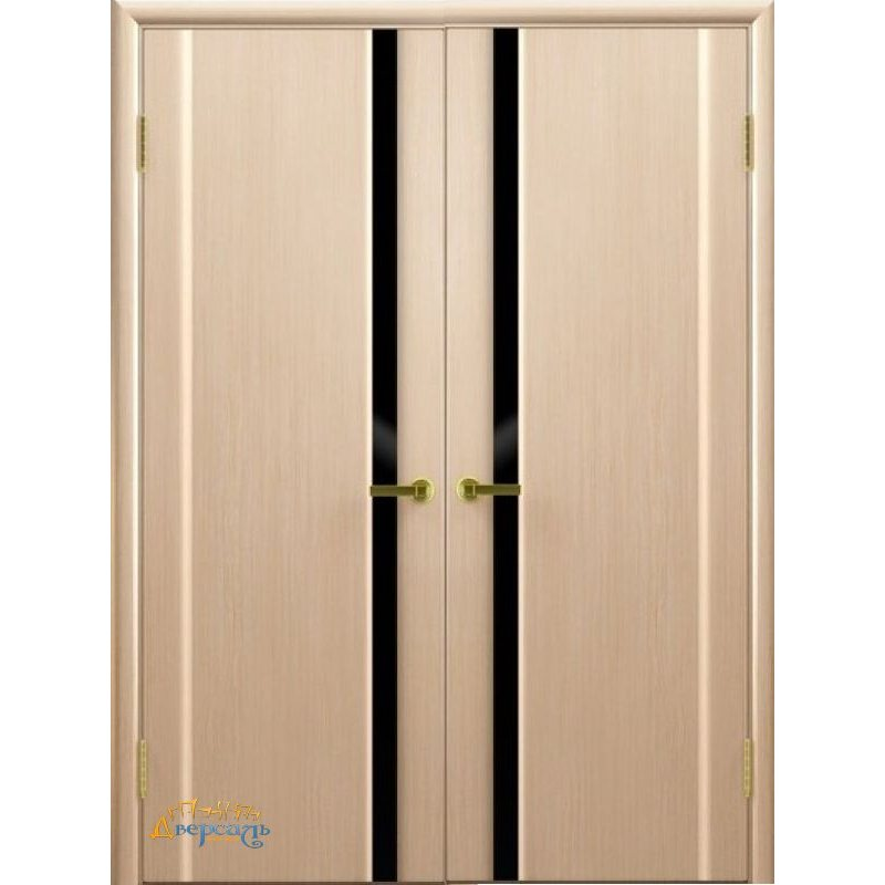 Двустворчатая дверь СИНАЙ 1 беленый дуб стекло чёрное