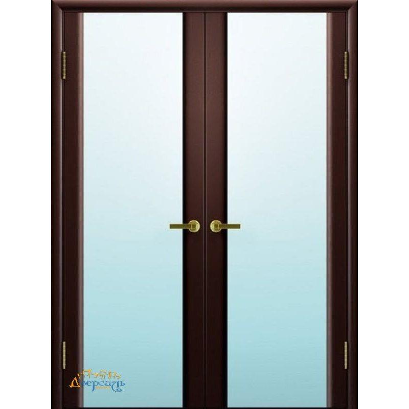 Двустворчатая дверь СИНАЙ 3 венге ПО стекло белое