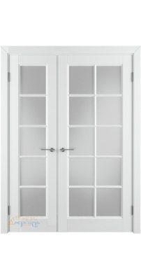 Неравнопольная дверь ГЛАНТА белая эмаль ПO