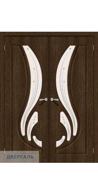 Двустворчатая дверь Лотос-2 dark barnwood/art glass