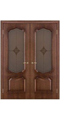 Двустворчатая дверь ПРЕМЬЕРА голд ПО стекло бронза ромб