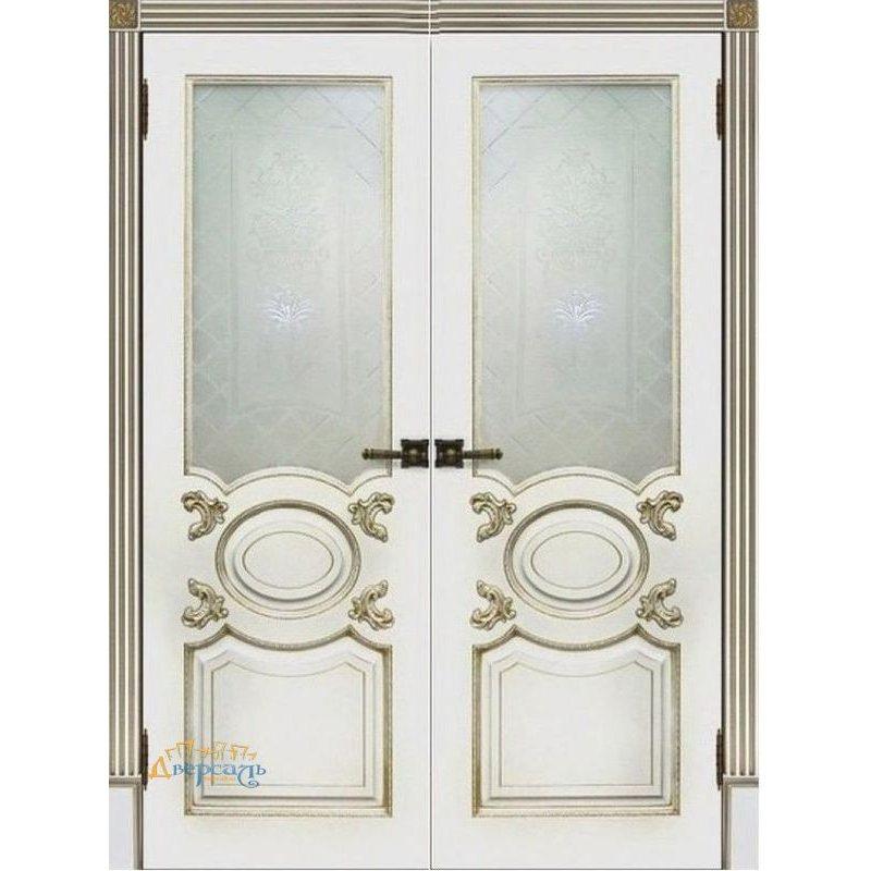Двустворчатая дверь АРИСТОКРАТ белая эмаль ПО