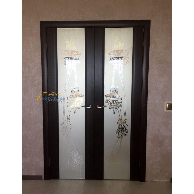 Двустворчатая дверь СТЕЛЛА 2 венге, стекло - зеркало