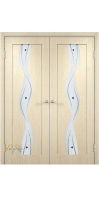 Двустворчатая дверь ВИРАЖ беленый дуб ПО