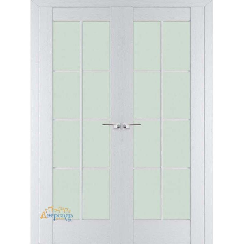 Двустворчатая дверь 101X пекан белый, стекло матовое