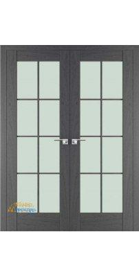 Двустворчатая дверь 101X пекан темный, стекло матовое
