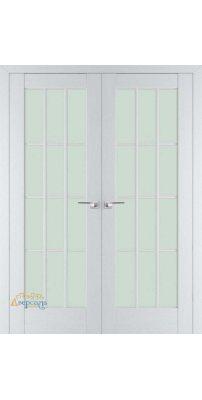 Двустворчатая дверь 102X пекан белый, стекло матовое