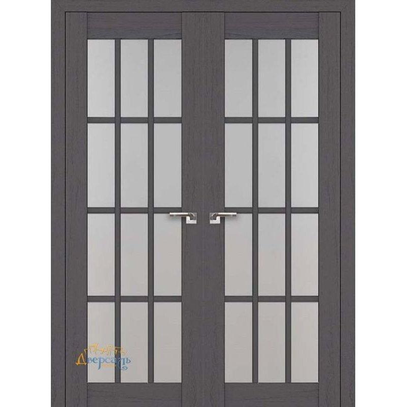 Межкомнатная двустворчатая распашная дверь 102X пекан темный, стекло матовое