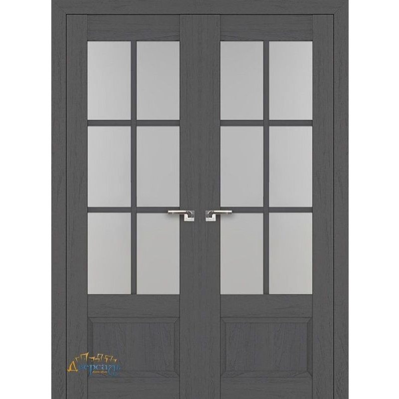 Двустворчатая дверь 103X пекан темный, стекло матовое