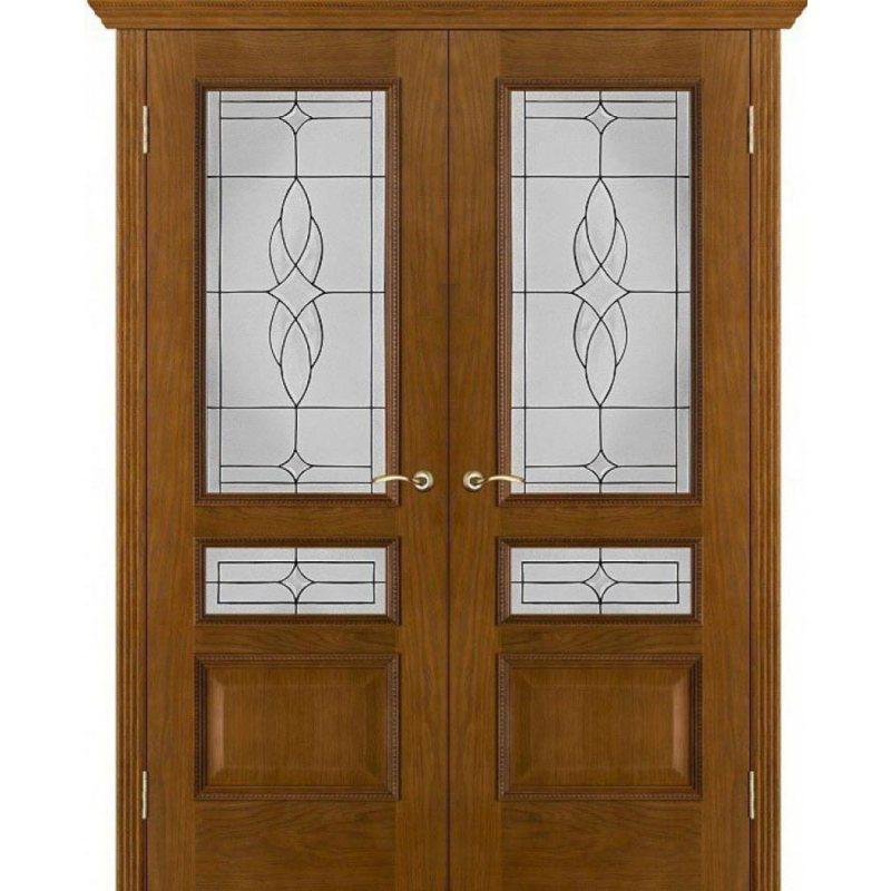 Двустворчатая дверь ВЕНА античный дуб (тон 14) ПО стекло витраж