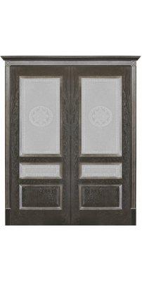 Двустворчатая дверь ВЕНА черная патина ПО стекло версачи