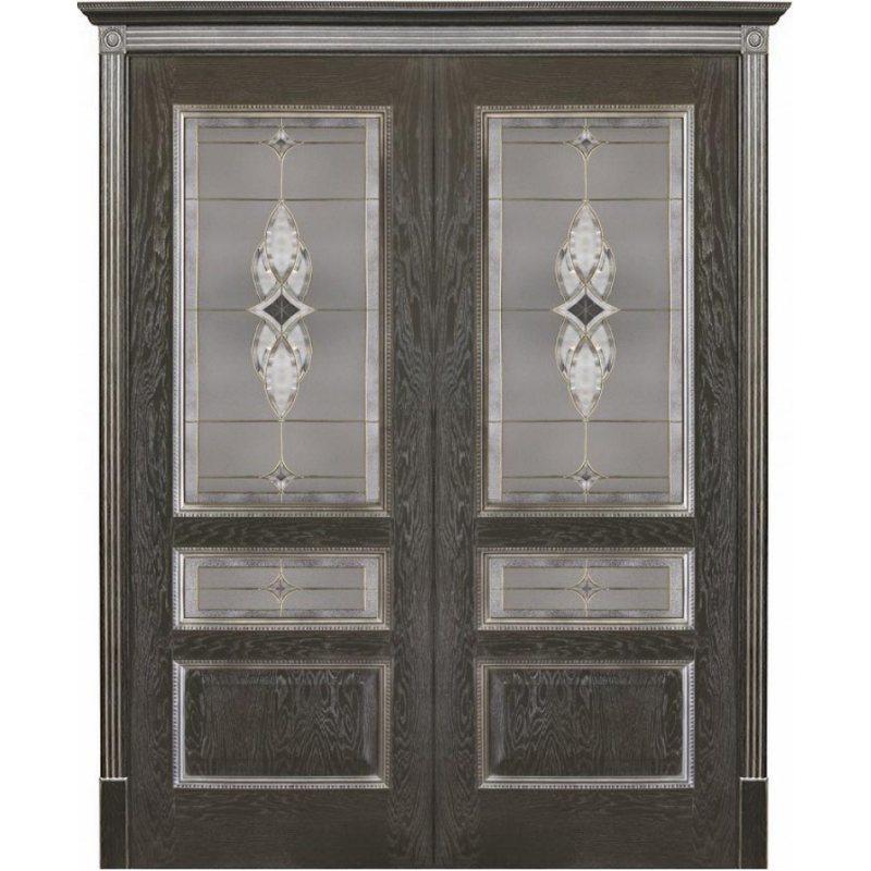 Двустворчатая дверь ВЕНА черная патина ПО стекло витраж