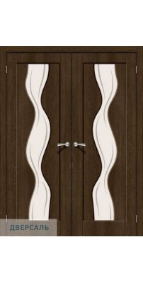 Двустворчатая дверь Вираж-2 dark barnwood/art glass