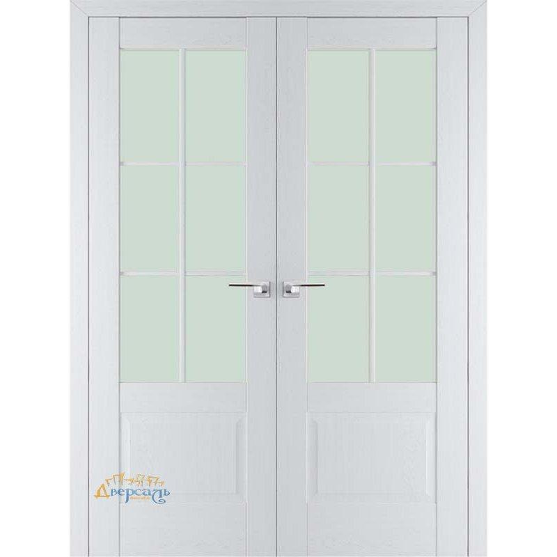 Двустворчатая дверь 103X пекан белый, стекло матовое