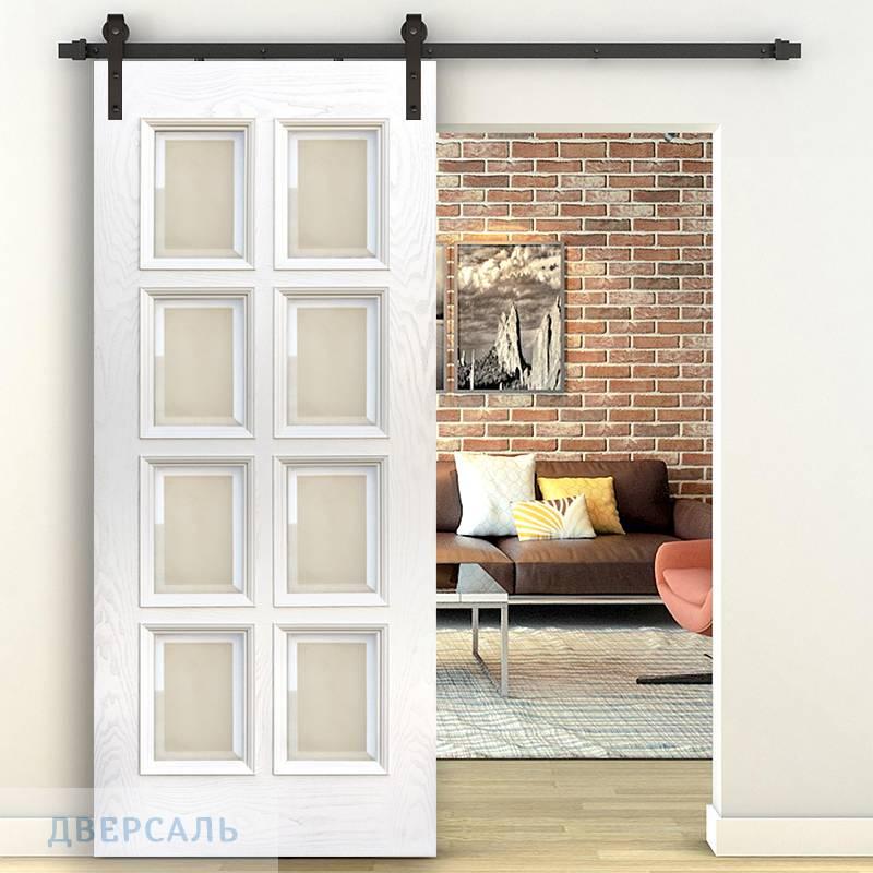 Амбарная дверь Финестра ясень карамельный ПO