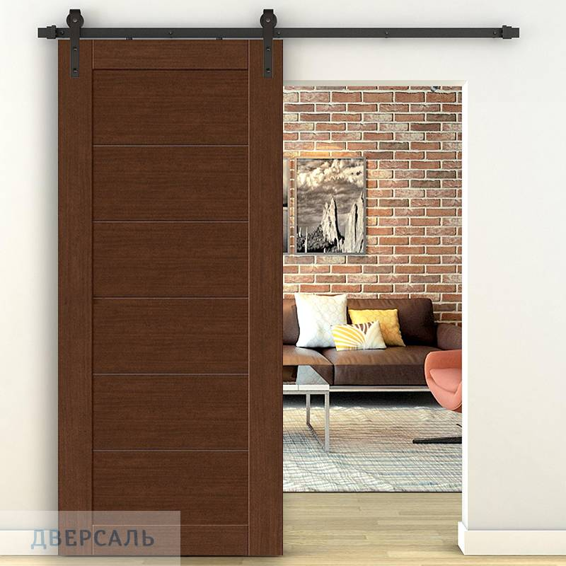 Амбарная дверь ЛЕГНО-22 brown oak