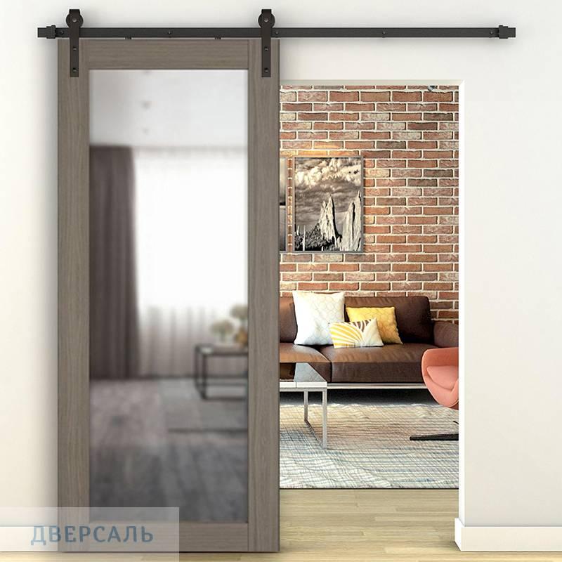 Амбарная дверь X-32 Brun Oak зеркало