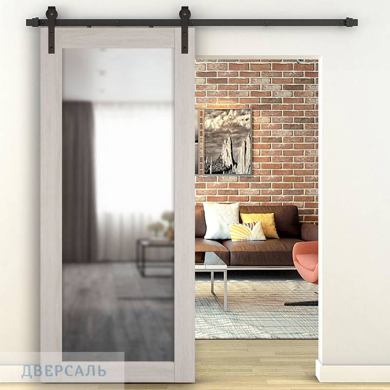 Амбарная дверь X-32 Scansom Oak зеркало