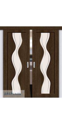 Двойная раздвижная дверь Вираж-2 dark barnwood/art glass