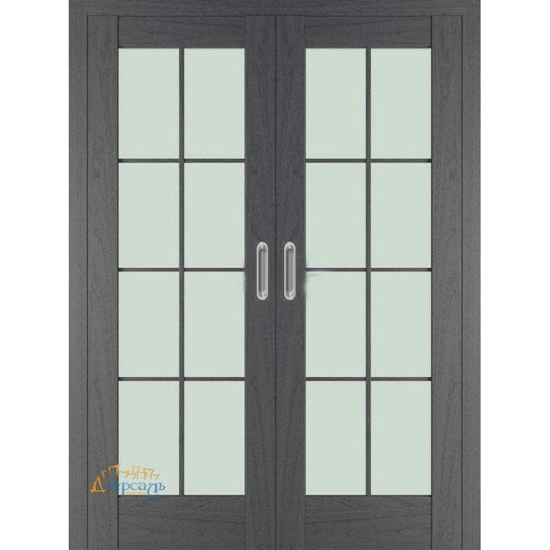 Двойная раздвижная дверь 101X пекан темный, стекло матовое