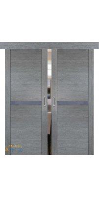 Двойная раздвижная дверь 2.01XN грувд, стекло матовое серебро