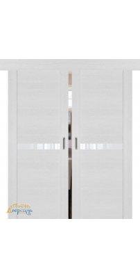 Двойная раздвижная дверь 2.01XN монблан, стекло белый лак