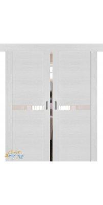 Двойная раздвижная дверь 2.01XN монблан, стекло перламутровый