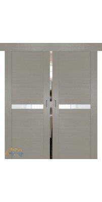 Двойная раздвижная дверь 2.01XN стоун, стекло белый лак