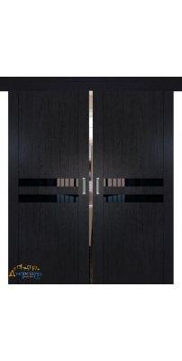 Двойная раздвижная дверь 2.03XN даркбраун, стекло черный лак