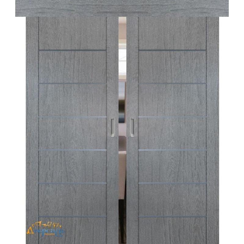 Двойная раздвижная дверь 2.07XN грувд AL молдинг, глухая