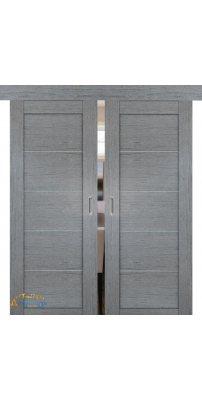 Двойная раздвижная дверь 2.11XN грувд, стекло матовое