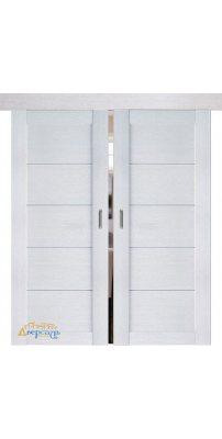 Двойная раздвижная дверь 2.11XN монблан, стекло матовое